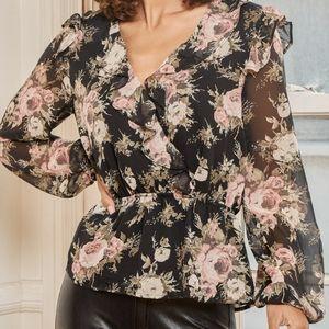 NWT Lulu's Black Floral Ruffled Long Sleeve Top
